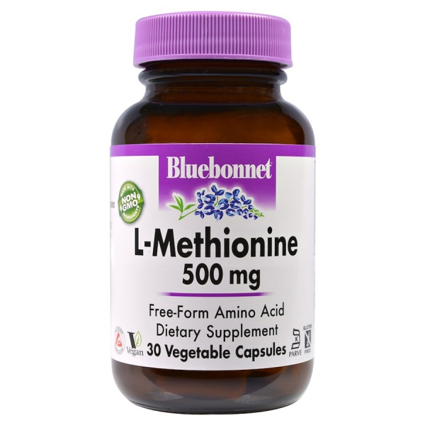 L-Метионин 500 мг, Bluebonnet Nutrition, 30 гелевых капсул