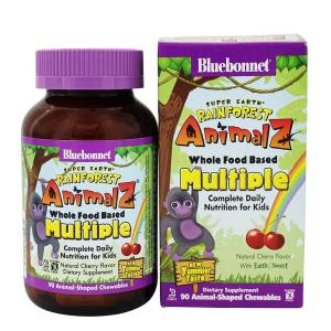 Мультивитамины для Детей, Вкус Вишни, Rainforest Animalz, Bluebonnet Nutrition