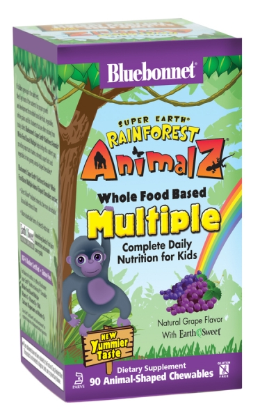 Мультивитамины для Детей, Rainforest Animalz, Bluebonnet Nutrition, 90 жевательных конфет