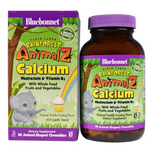 Кальций Магний & Витамин D3 для Детей, Rainforest Animalz, Bluebonnet Nutrition, Вкус Ванили