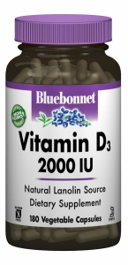 Витамин D3 2000IU, Bluebonnet Nutrition, 180 гелевых капсул