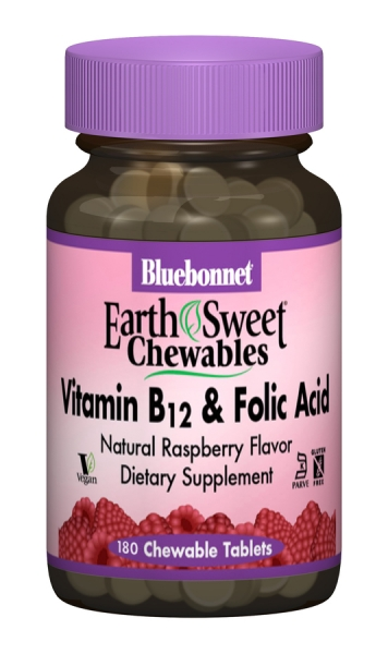 Витамин В12 и Фолиевая кислота, Вкус Малины, Earth Sweet Chewables, Bluebonnet Nutrition