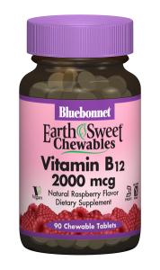Витамин В12 2000мкг, Вкус Малины, Earth Sweet Chewables, Bluebonnet Nutrition, 90 жевательных таблеток