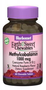 Метилкобаламин (Витамин В12) 1000мкг, Вкус Малины, Earth Sweet Chewables, Bluebonnet Nutrition, 60 жевательных таблеток