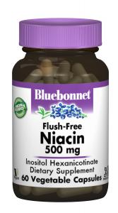 Ниацин без инфузата (Витамин В3) 500мг, Bluebonnet Nutrition, 60 гелевых капсул