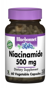 Ниацинамид (Витамин B3) 500 мг, Bluebonnet Nutrition, 60 гелевых капсул