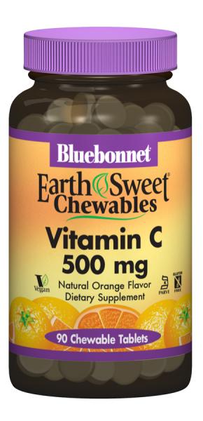 Витамин С 500мг, Earth Sweet Chewables, Bluebonnet Nutrition, Вкус Апельсина, Bluebonnet Nutrition, 90 жевательных таблеток