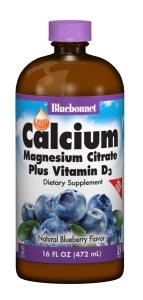 Жидкий Кальций Цитрат Магния + Витамин D3, Вкус Черники, Bluebonnet Nutrition, 16 жидких унций (472 мл)