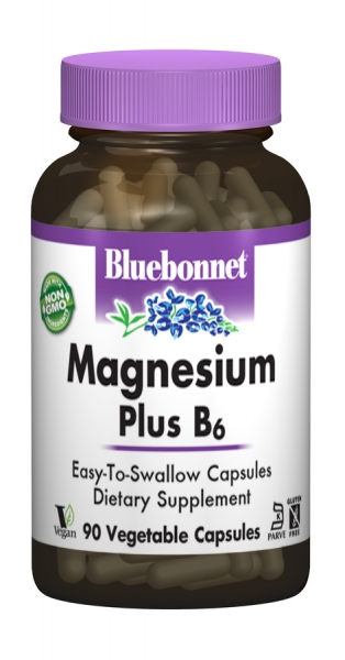 Магний + Витамин В6, Bluebonnet Nutrition, 90 гелевых капсул