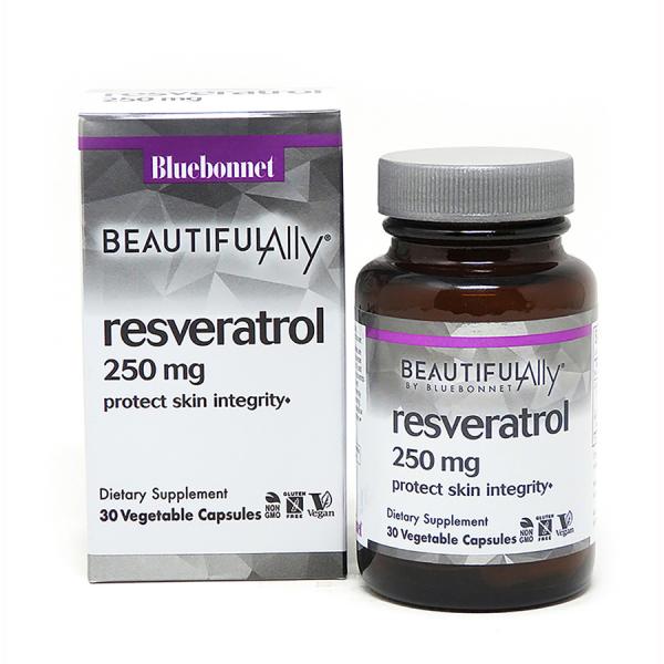Ресвератрол 250 мг, Beautiful Ally, Bluebonnet Nutrition, Resveratrol 250 мg, 30 растительных капсул