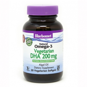 Вегетарианская Омега-3 из Водорослей, DHA 200 mg, Bluebonnet Nutrition, 30 растительных капсул