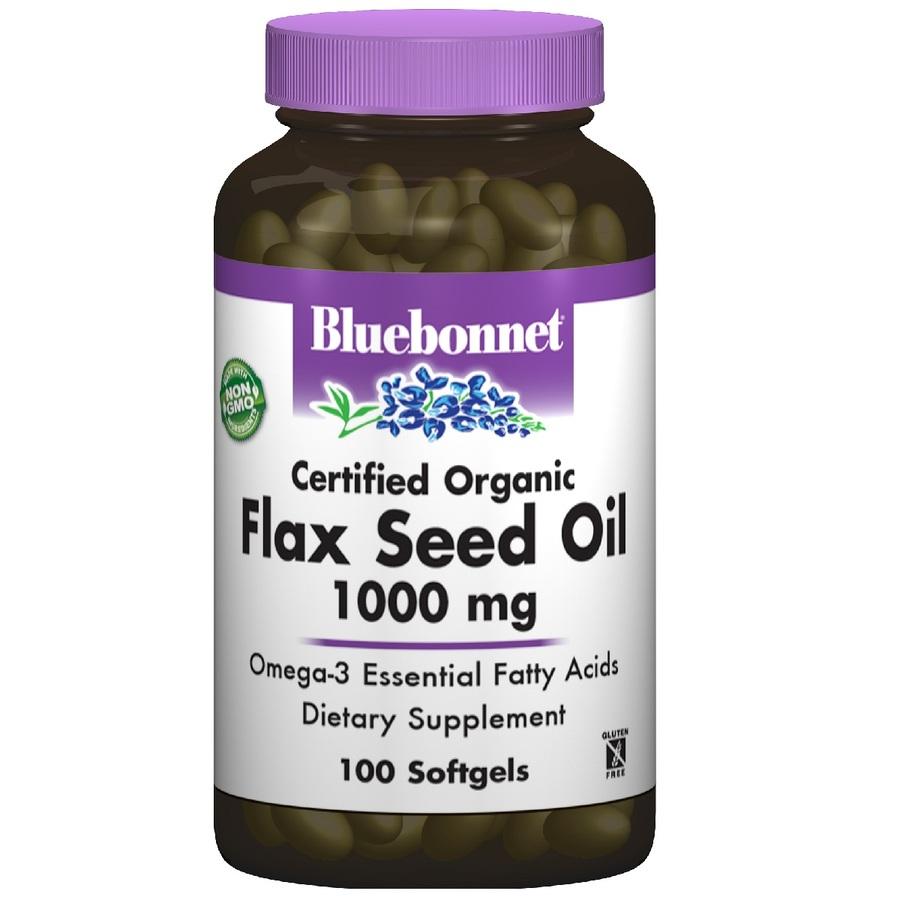 Органическое Льняное Масло 1000мг, Bluebonnet Nutrition, 100 желатиновых капсул