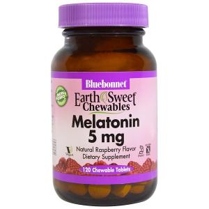 Мелатонин 5мг, Вкус Малины, Earth Sweet Chewables, Bluebonnet Nutrition