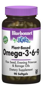 Омега 3-6-9 на Растительной Основе 1000мг, Bluebonnet Nutrition, 90 желатиновых капсул