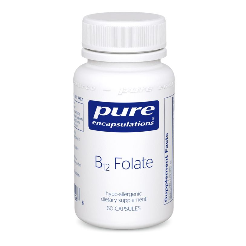 Витамин B12 и Фолат, метилкобаламин, B12 Folate, Pure Encapsulations, 60 капсул