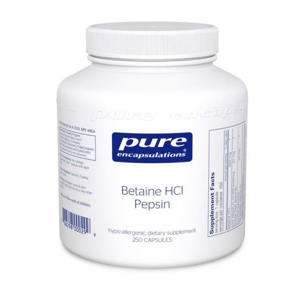 Бетаина гидрохлорид + пепсин, Betaine HCL/Pepsin, Pure Encapsulations 250 капсул