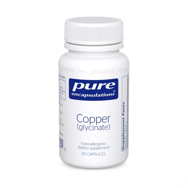 Медь (глицинат), Copper (glycinate), Pure Encapsulations, 60 капсул