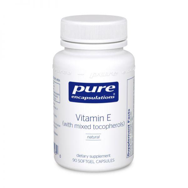 Витамин Е со смешанными токоферолами, Vitamin E, Pure Encapsulations, 90 капсул