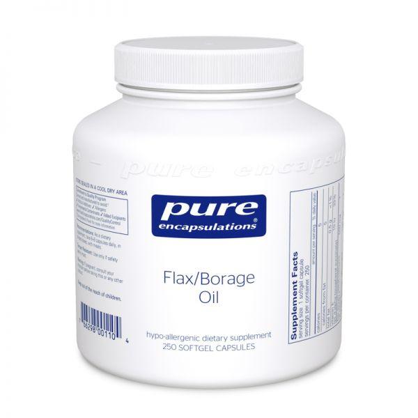 Льняное масло и масло огуречника, Flax/Borage Oil, Pure Encapsulations, 250 капсул