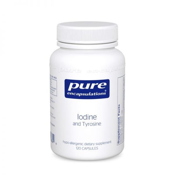 Йод и Тирозин, Iodine and Tyrosine, Pure Encapsulations, 120 капсул
