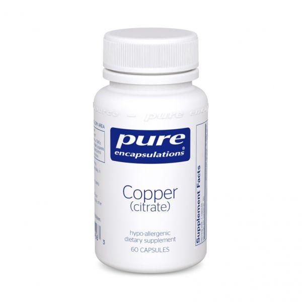 Медь цитрат, Copper citrate, Pure Encapsulations, 60 капсул
