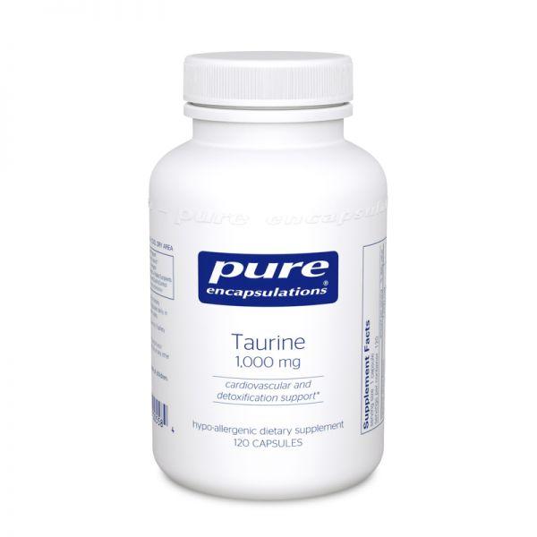Таурин, Taurine, Pure Encapsulations, 1000 мг, 120 капсул