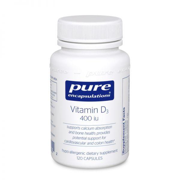 Витамин D3, Vitamin D3, Pure Encapsulations, 400 МЕ, 120 капсул
