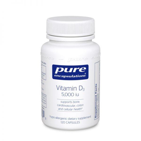 Витамин D3, Vitamin D3, Pure Encapsulations, 5,000 МЕ, 60 капсул