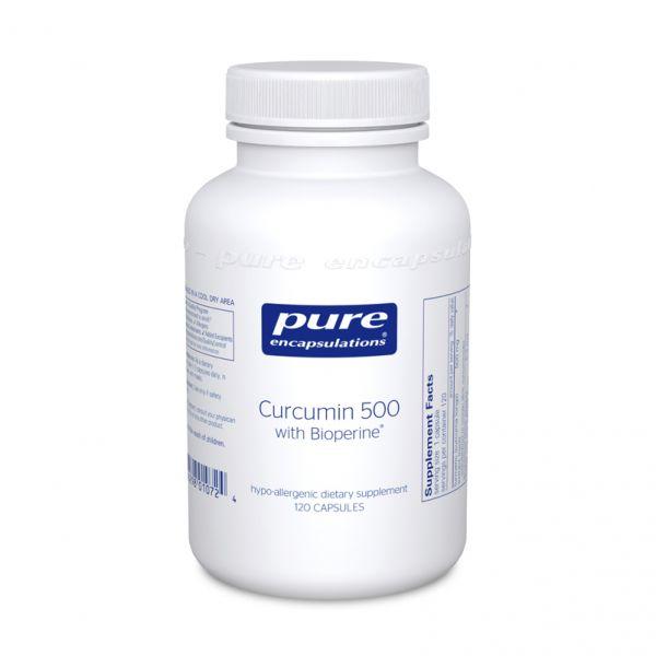 Куркумин с биоперином, Curcumin with Bioperine®, Pure Encapsulations, 500 мг, 60 капсул