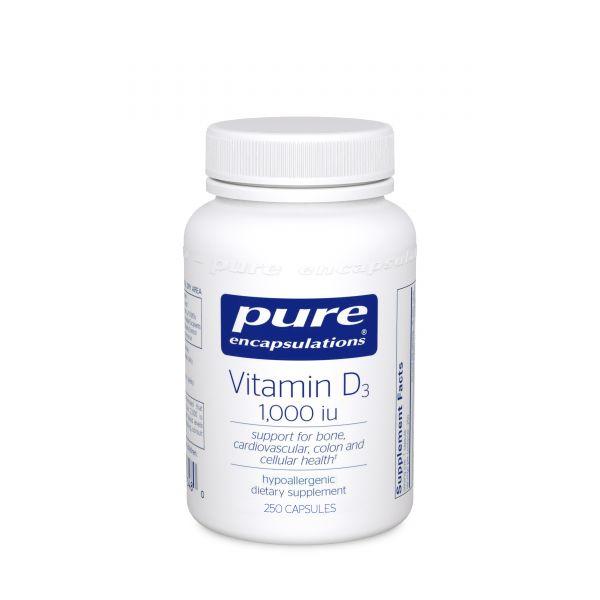 Витамин D3, Vitamin D3, Pure Encapsulations, 1,000 МЕ, 250 капсул