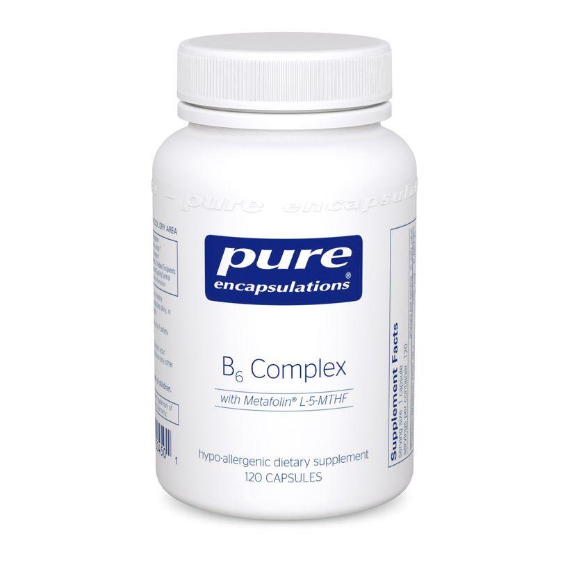 Витамин B6 (комплекс), B6 Complex, Pure Encapsulations, 120 капсул
