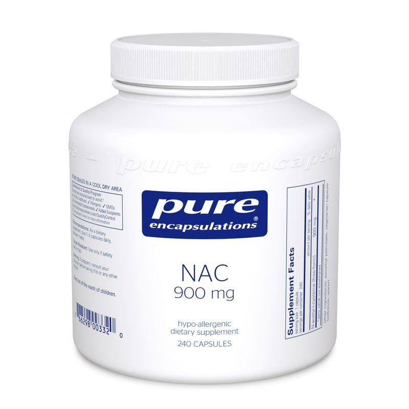NAC, N-ацетилцистеин 900 мг, NAC (n-acetyl-l-cysteine) 900 mg, Pure Encapsulations, 120 капсул