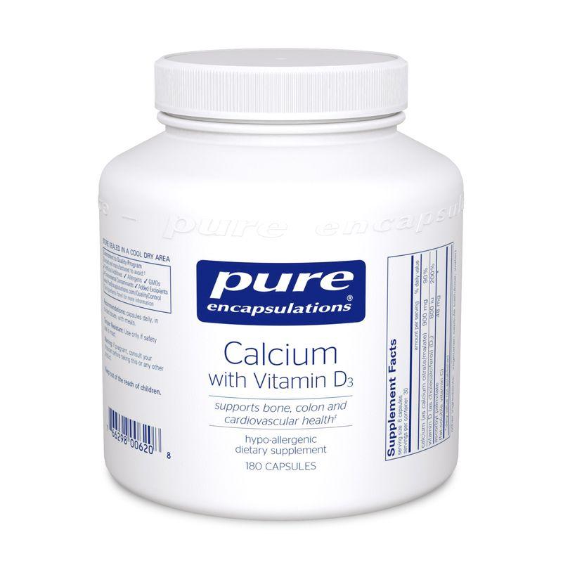 Кальций с Витамином D3, Calcium with Vitamin D3, Pure Encapsulations, 180 капсул
