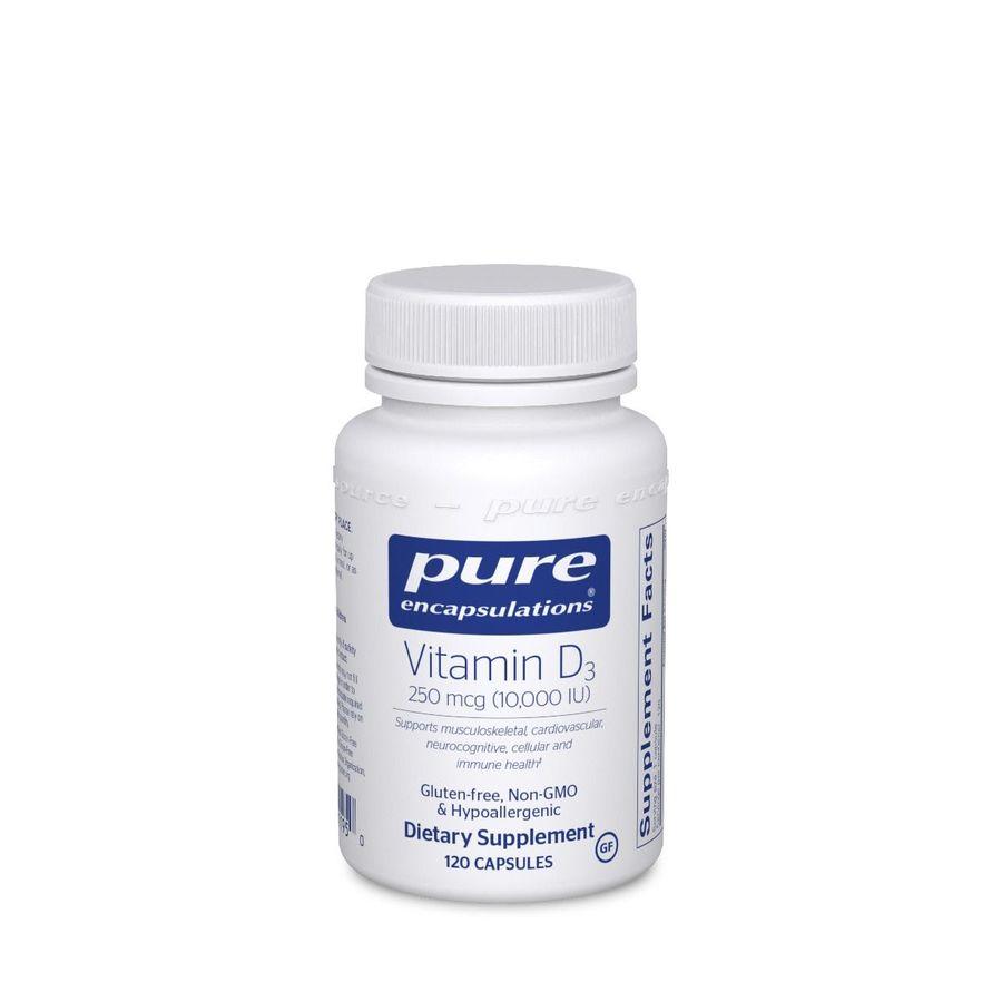 Витамин D3, Vitamin D3, Pure Encapsulations, 10,000 МЕ, 120 капсул