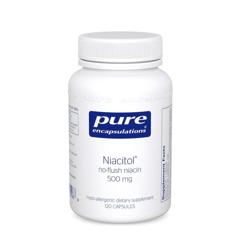 Ниацин не вызывающий покраснений, Niacitol, Pure Encapsulations, 500 мг, 60 капсул