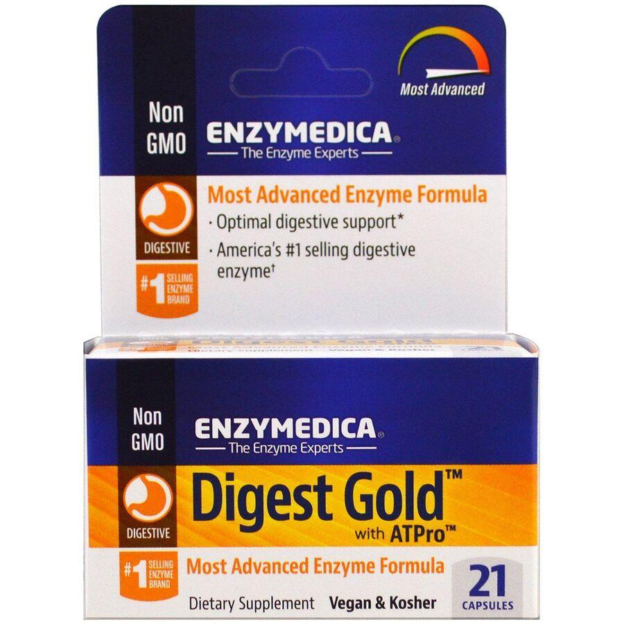 Пищеварительные ферменты, Digest Gold with ATPro, Enzymedica, 21 капсула