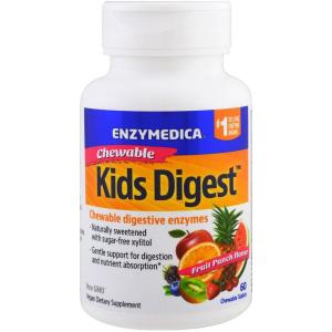 Пищеварительные ферменты для детей, Kids Digest, Enzymedica, фруктовый вкус, для веганов, 60 жевательных конфет