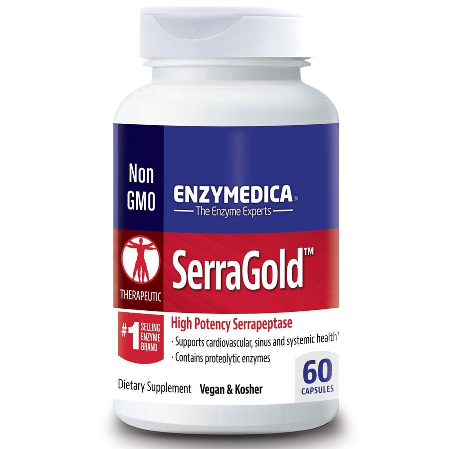 Серрапептаза для сердца,  SerraGold, Enzymedica, 60 кап.