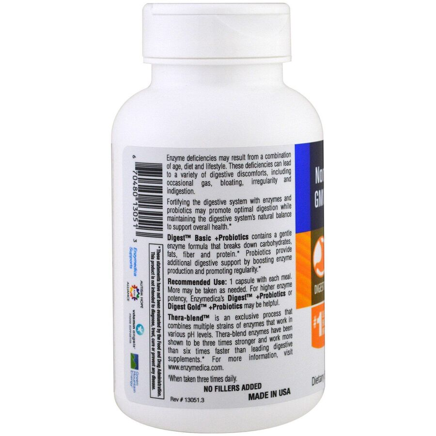 Ферменты и пробиотики, Digest Basic + Probiotics, Enzymedica, 90 капсул
