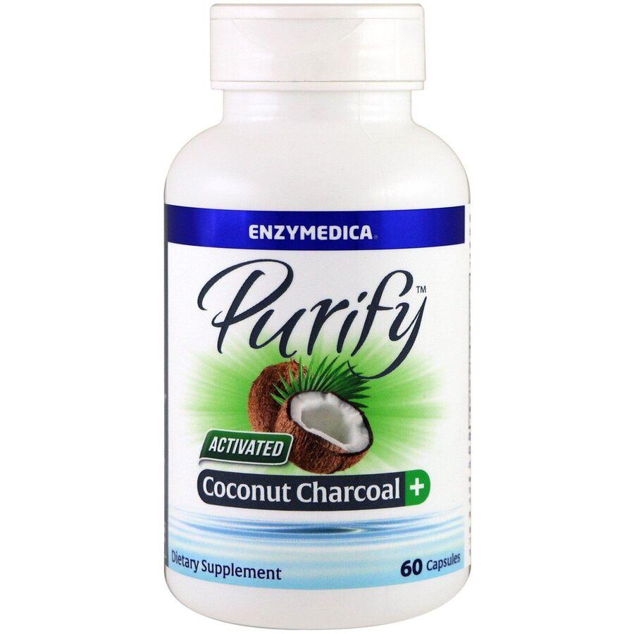 Активированный уголь из кокоса, Activated Coconut Charcoal+, Enzymedica, Purify, для веганов, 60 кап