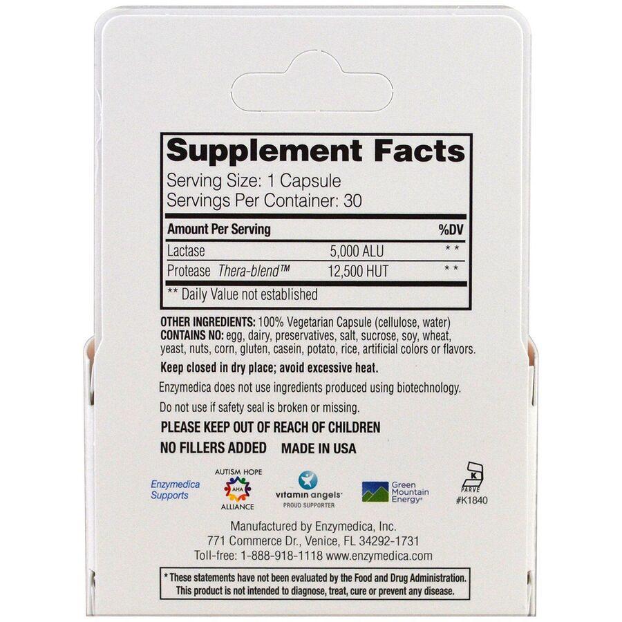 Ферменты для переваривания лактозы, DairyAssist, Enzymedica, для веганов, 30 капсул