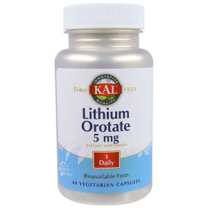 KAL, Lithium Orotate, литий оротат, 5 mg, 60 капсул
