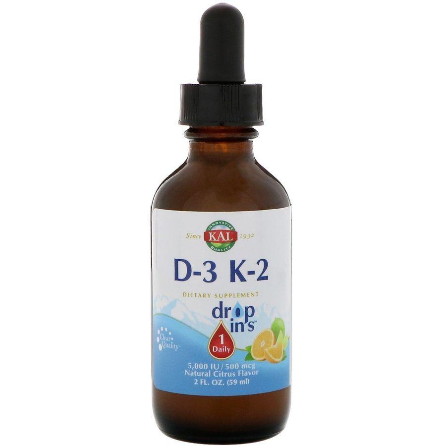 Витамины Д3 и K2, Vitamin D-3 K-2, KAL, 59 мл