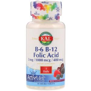 Витамин B12 + B6 фолиевая кислота,  B-6 B-12 Folic Acid, KAL, 60 таблеток
