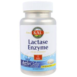 Фермент лактаза, Lactase Enzyme, KAL, 250 мг, 60 капсул