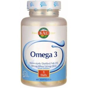 Омега-3, Omega 3 Fish 180/120, KAL, 1000 мг