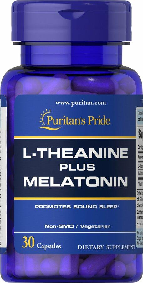 Л-теанин плюс мелатонин, L-Theanine Plus Melatonin, Puritan's Pride, 30 капсул