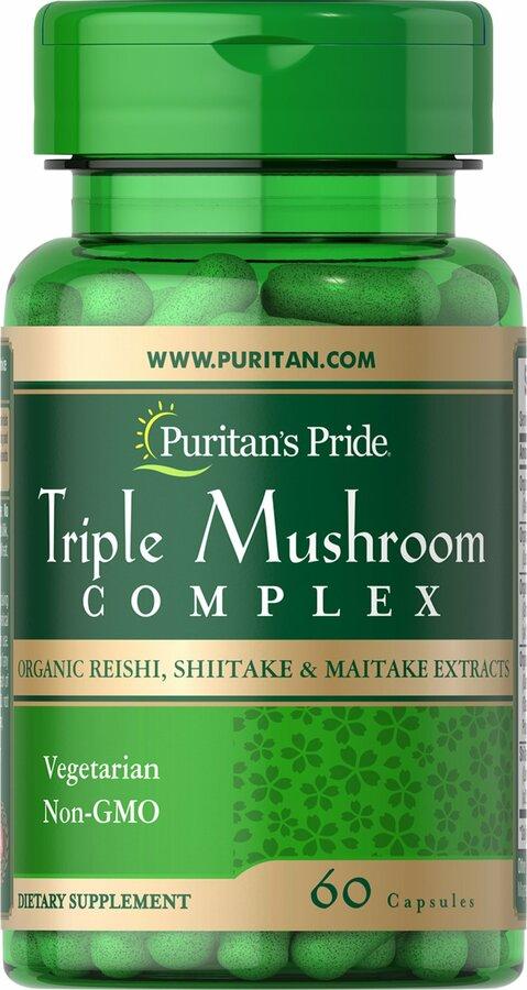 Лечебные грибы комплекс, Triple Mushroom Complex Reishi Shiitake Maitake, Puritan's Pride, 60 капсул