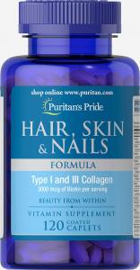 Формула для волос, кожи, ногтей, Hair Skin Nails Formula, Puritan's Pride, 120 капсул
