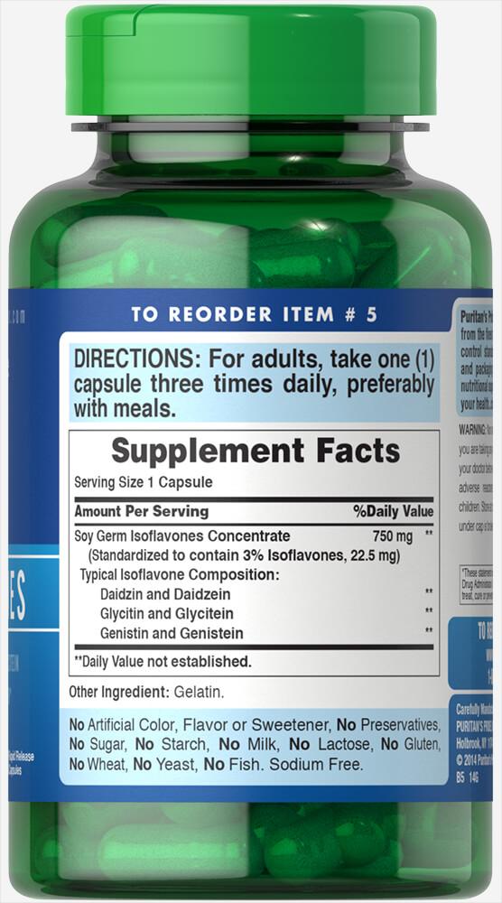 Изофлавоны сои, Soy Isoflavones, Puritan's Pride, 750 мг, 120 капсул быстрого высвобождения